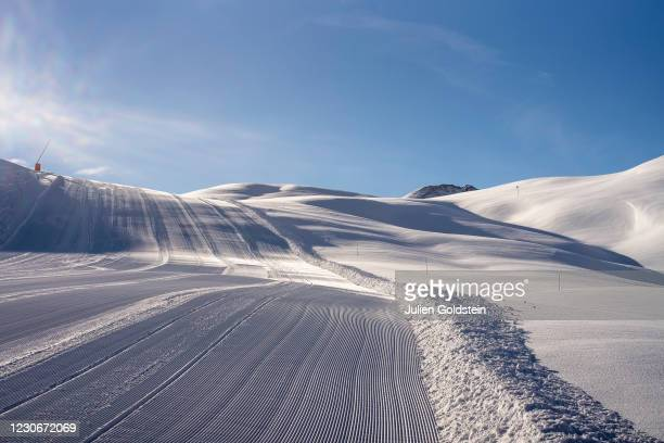 Deserted ski slopes on the Bellevarde massif on January 19, 2021 in Val-d'Isere, France. Only a few skiers take advantage of the small secure area to...