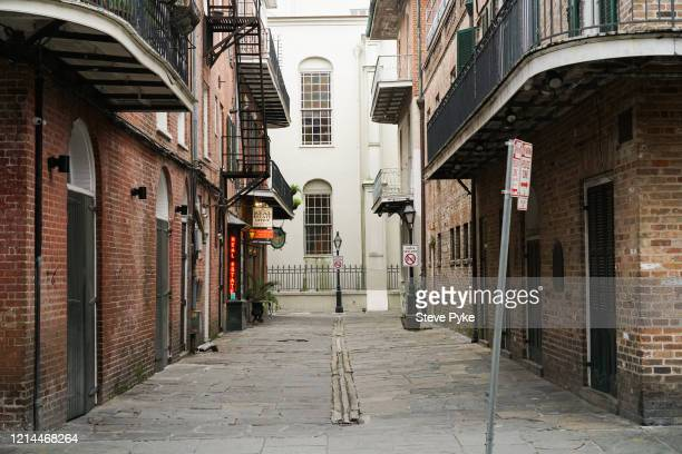 A deserted street in the French Quarter of New Orleans amid restrictions in place to help deal with the Covid19 pandemic 22nd March 2020