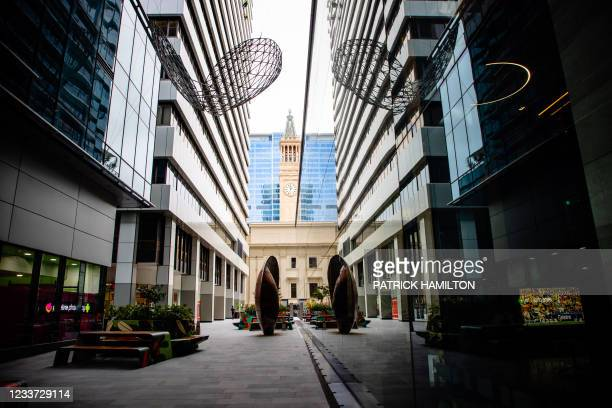 Deserted street is seen in Brisbane on June 30 as the city falls quiet from a lockdown with Australia battling outbreaks of the highly contagious...