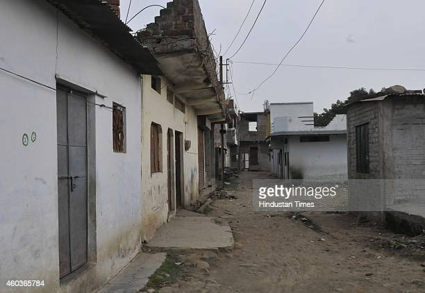 A deserted street of Aman colony at Karond area on December 12 2014 in Bhopal India Two sects of a religious community clashed in Karond area here...