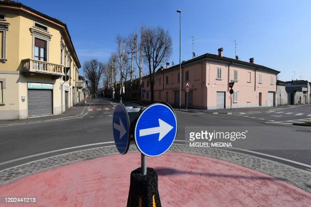 Deserted streets are pictured in Codogno, southeast of Milan, on February 22, 2020. - Streets were deserted and residents warned to keep out of an...