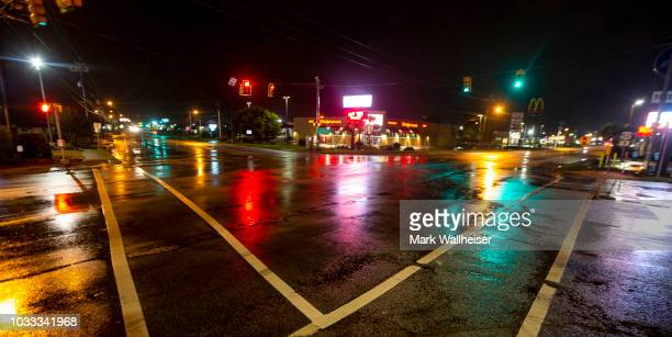 Deserted streets are seen as Tropical Storm Florence blows through Florence South Carolina on September 14 2018 in Florence South Carolina The storm...
