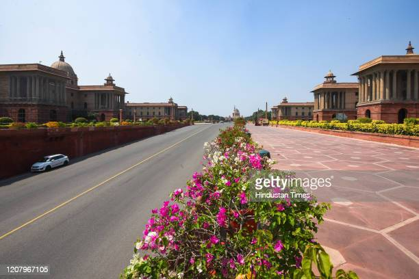 Deserted view near Rashtrapati Bhavan , on March 22, 2020 in New Delhi, India. PM Modi proposed a 'Janata curfew' for the day betwen 7 am and 9 pm as...
