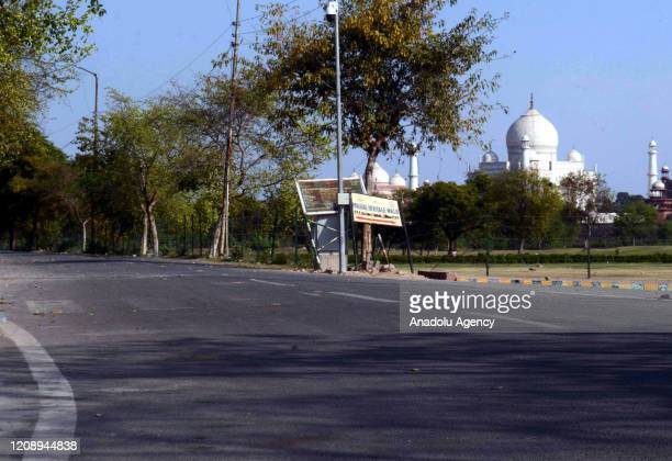 Deserted view near the historic monument Taj Mahal during the nationwide lockdown continues over the highly contagious coronavirus on April 02 , 2020...