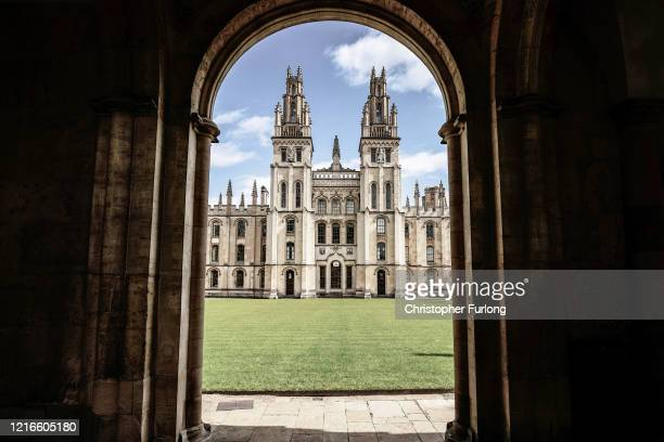 A deserted view of All Souls College after university students have been sent home and the tourist are staying away Oxford's streets and colleges of...