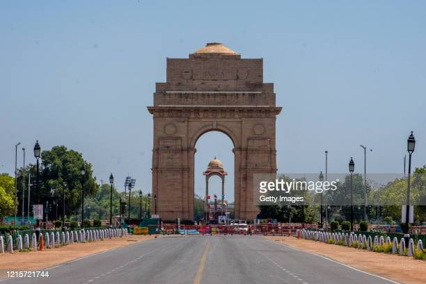 Deserted view of an empty historic India Gate, as nationwide lockdown continues over the highly contagious coronavirus on March 30, 2020 in New...