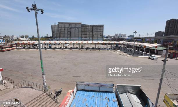 Deserted view of Anand Vihar Bus Terminus on day 6 of the 21-day nationwide lockdown imposed by PM Narendra Modi to check the spread of coronavirus,...
