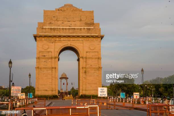A deserted view of India Gate as India remains under lockdown due to the coronavirus pandemic on April 09 2020 in New Delhi India India is under a...
