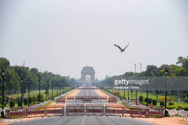 Deserted view of India Gate, on March 22, 2020 in New Delhi, India. PM Modi proposed a 'Janata curfew' for the day between 7 am and 9 pm as part of...
