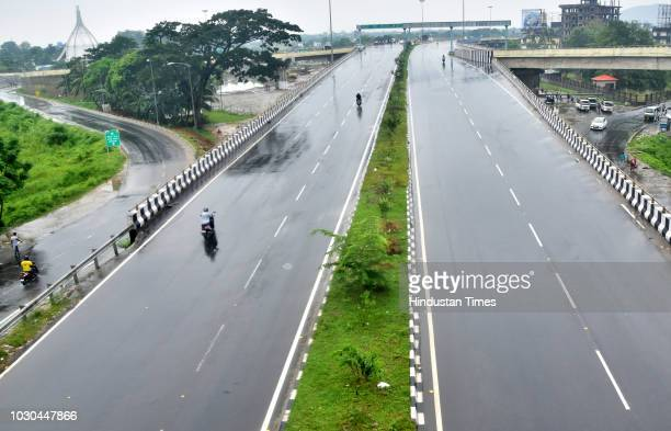 A deserted view of Jalukbari over bridge during Bharat Bhand a strike called by Congress and other opposition parties against fuel price hike and...