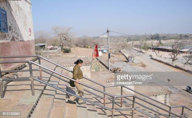 A deserted view of Kalika Mata temple inside Chittorgadh fort on January 25 2018 in Chittor India The police have barricaded the area in view of the...