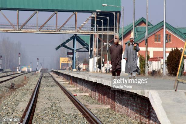 A deserted view of railway track in Anantnag train service suspend on Saturday for security reasons in the Kashmir valley in view of a shutdown call...