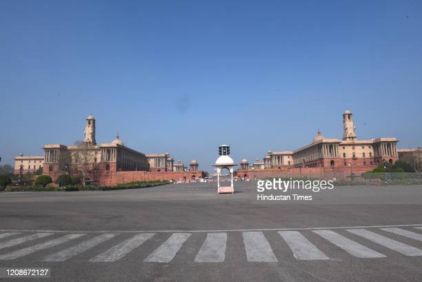 Deserted view of Rajpath during the day 6 of the 21-day nationwide lockdown imposed by PM Narendra Modi to curb the spread of coronavirus, on March...