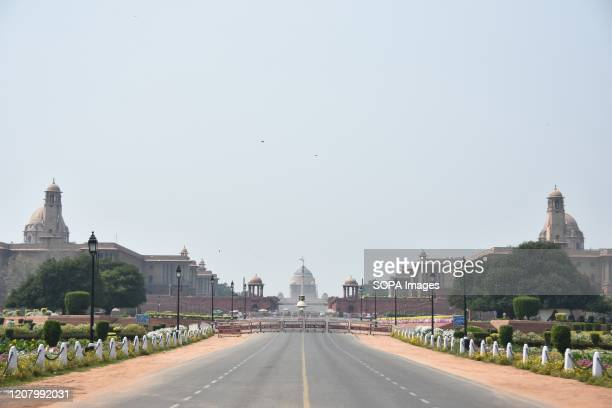 Deserted view of Rashtrapati Bhavan, during the first day of the civil curfew. The Indian government imposed a nationwide Janata curfew as a...