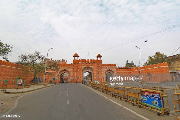 A deserted view of Sanganeri gate during the Lockdown in the wake of the deadly novel coronavirus pandemic in Jaipur RajasthanIndia March 232020