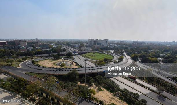Deserted view of the AIIMS flyover during Janta Curfew at Minto Road on March 22 2020 in New Delhi India PM Modi proposed a 'Janata curfew' for the...