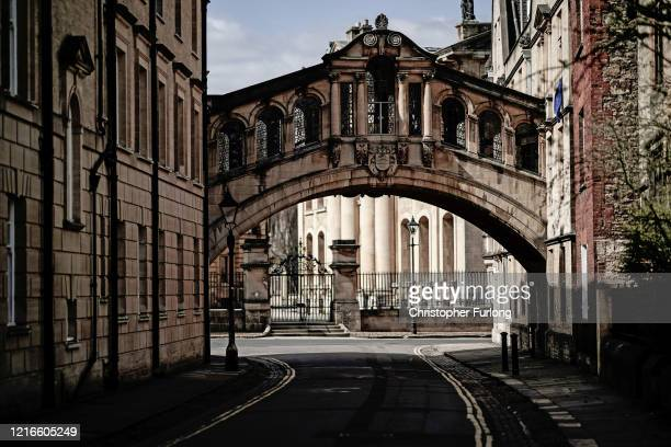 A deserted view of The Bridge of Sighs and New College Lane after university students have been sent home and the tourists are staying away during...