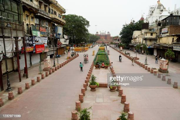 Deserted view of the Chandani Chowk main market seen during the lockdown in Old Delhi. Chandani Chowk is busy shopping market with Silver Jewelry and...