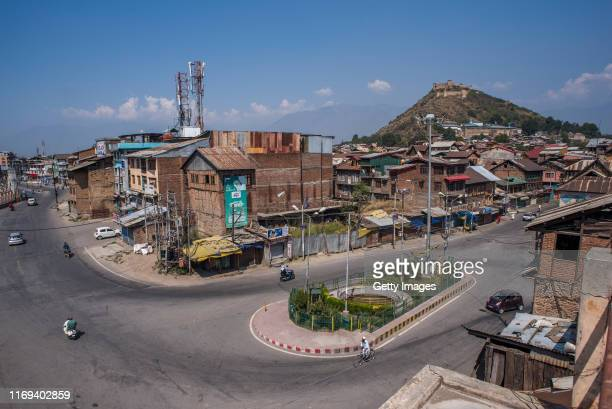A deserted view of the commercial hub of the old city after the revocation of special status on September 19 2019 in Srinagar the summer capital of...