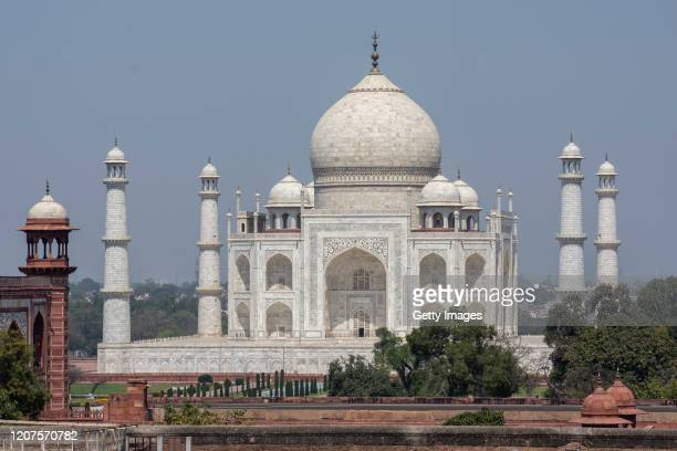 Deserted view of the historic monument Taj Mahal, closed for tourists to prevent spread of Covid-19, on March 18, 2020 in Agra, India. With...