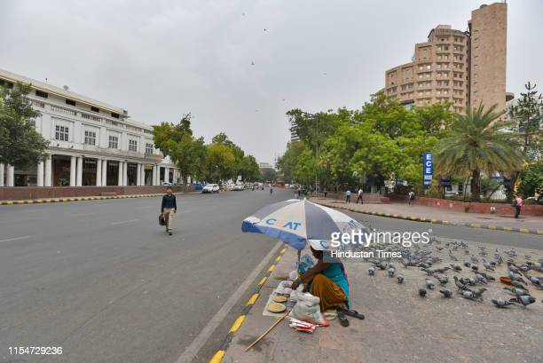 Deserted view of the otherwise busy Connaught Place in view of the India v/s New Zealand cricket semi-final match, on July 9, 2019 in New Delhi,...