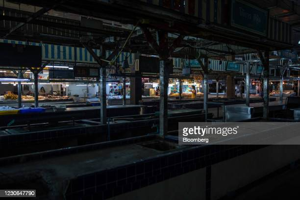 Deserted wet market in Patong, Phuket, Thailand, on Sunday, Dec. 20, 2020. The tepid response to Thailands highly publicized reopening illustrates...