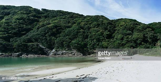 Deserted white sand beach of Izu Peninsula, Japan
