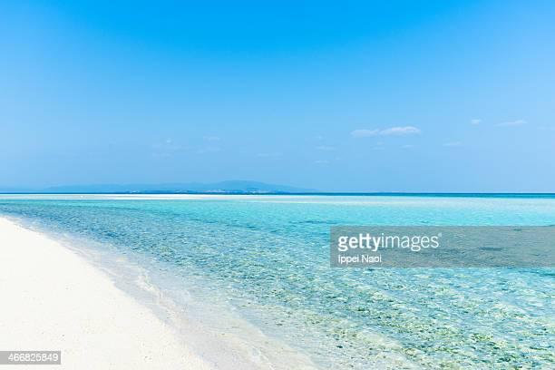 Deserted white sand tropical beach, clear blue sea