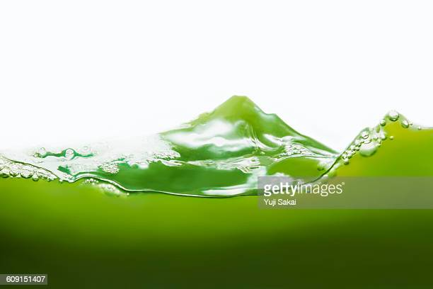 desgned mt' fuji   by green tea - green colour ストックフォトと画像