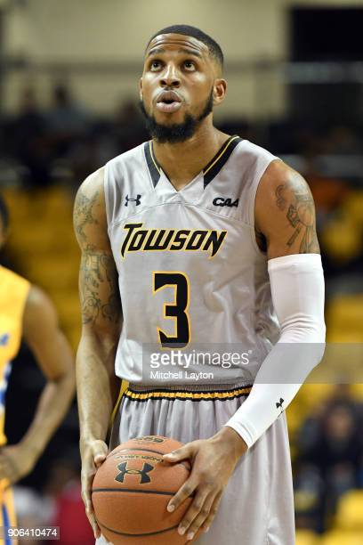 Deshaun Morman of the Towson Tigers takes a foul shot during a college basketball game against the Hofstra Pride at SECU Arena on January 11 2018 in...