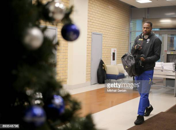 Deshaun Thomas #1 of Maccabi Fox Tel Aviv arriving to the 2017/2018 Turkish Airlines EuroLeague Regular Season Round 12 game between CSKA Moscow and...