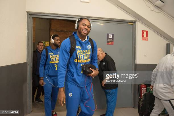 Deshaun Thomas #1 of Maccabi Fox Tel Aviv arriving to the arena prior the 2017/2018 Turkish Airlines EuroLeague Regular Season Round 9 game between...