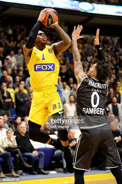 Deshaun Thomas #1 of Maccabi Fox Tel Aviv competes with Daniel Hackett #0 of Brose Bamberg during the 2017/2018 Turkish Airlines EuroLeague Regular...