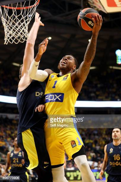 Deshaun Thomas #1 of Maccabi Fox Tel Aviv in action during the 2017/2018 Turkish Airlines EuroLeague Regular Season Round 14 game between Maccabi Fox...
