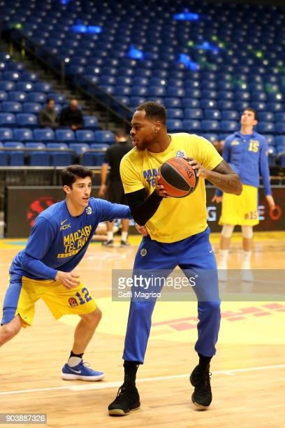 Deshaun Thomas #1 of Maccabi Fox Tel Aviv warming up during the 2017/2018 Turkish Airlines EuroLeague Regular Season Round 17 game between Maccabi...
