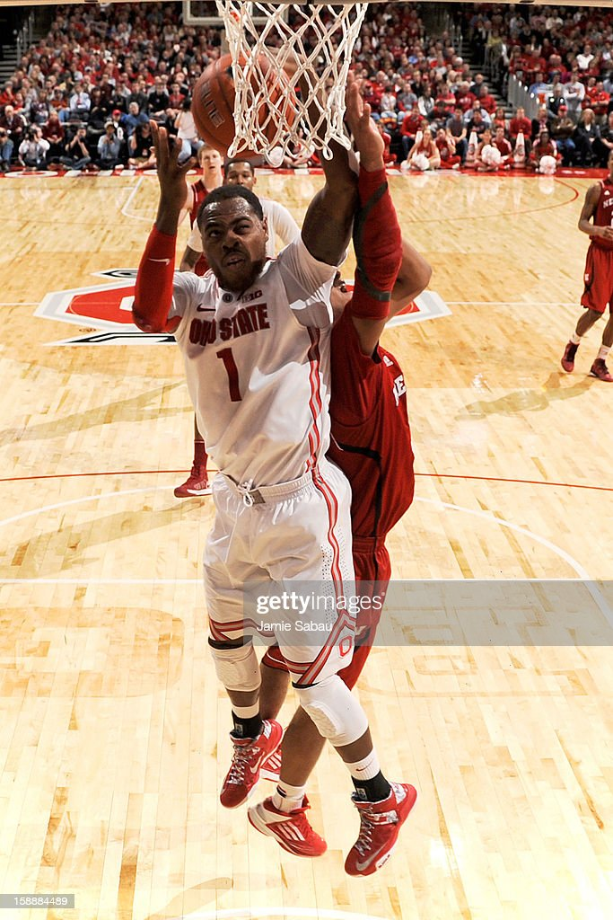 Deshaun Thomas #1 of the Ohio State Buckeyes drives to the basket to score two of his game high 22 points as Ohio State defeated the Nebraska Cornhuskers 70-44 on January 2, 2013 at Value City Arena in Columbus, Ohio.