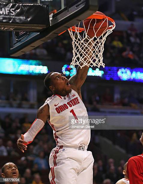 Deshaun Thomas of the Ohio State Buckeyes dunks against the Nebraska Cornhuskers during a quarterfinal game of the Big Ten Basketball Tournament at...