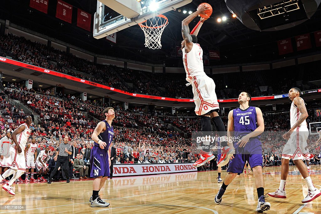 Deshaun Thomas #1 of the Ohio State Buckeyes dunks for two of his game-high 22 points in the second half against the Northwestern Wildcats on February 14, 2013 at Value City Arena in Columbus, Ohio. Ohio State defeated Northwestern 69-59.