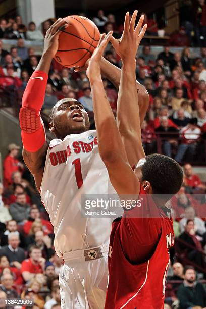 Deshaun Thomas of the Ohio State Buckeyes shoots the ball against the Nebraska Cornhuskers on January 3 2012 at Value City Arena in Columbus Ohio