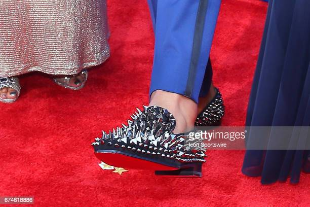 Deshaun Watson from Clemson with his spiked shoes on the Red Carpet outside of the NFL Draft Theater on April 27 2017 in Philadelphia PA
