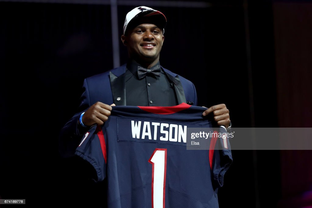 Deshaun Watson of Clemson reacts after being picked #12 overall by the Houston Texans during the first round of the 2017 NFL Draft at the Philadelphia Museum of Art on April 27, 2017 in Philadelphia, Pennsylvania.