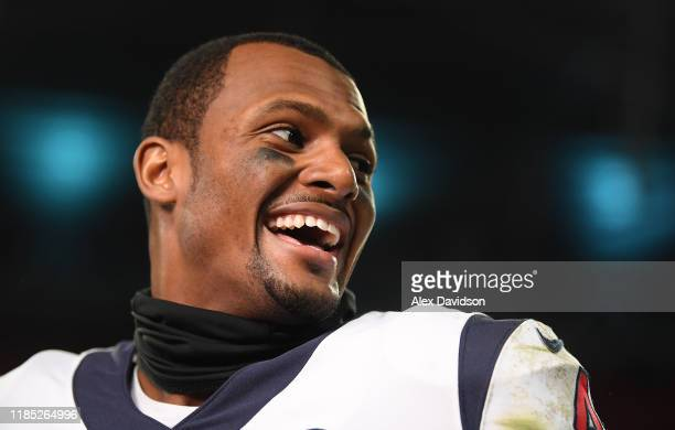 Deshaun Watson of Houston Texans talks to the press after the NFL game between Houston Texans and Jacksonville Jaguars at Wembley Stadium on November...