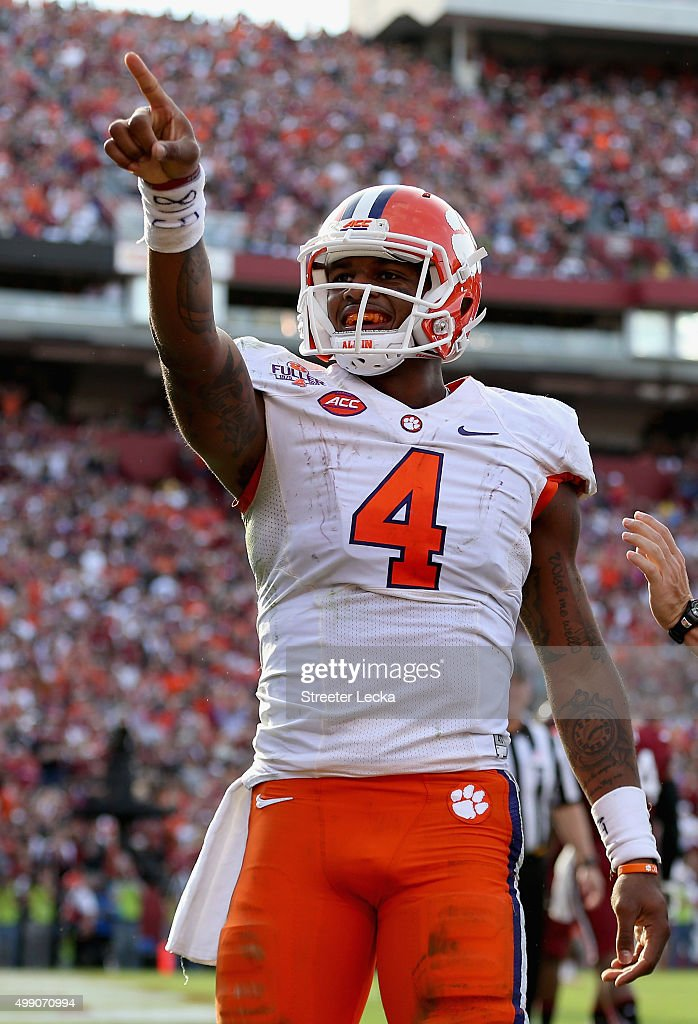 Deshaun Watson #4 of the Clemson Tigers after scoring a touchdown during their game against the South Carolina Gamecocks at Williams-Brice Stadium on November 28, 2015 in Columbia, South Carolina.