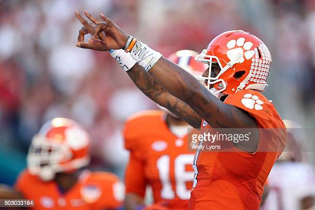 Deshaun Watson of the Clemson Tigers celebrates after scoring a touchdown in the second quarter against the Oklahoma Sooners during the 2015 Capital...