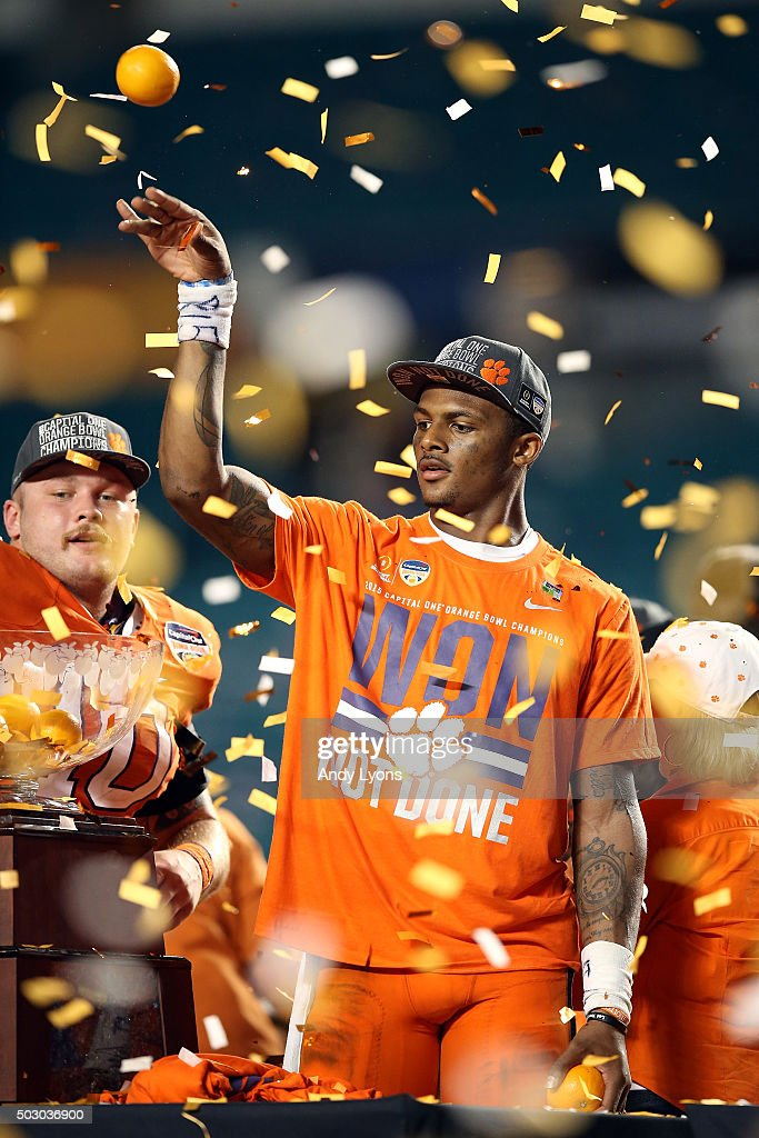 Deshaun Watson #4 of the Clemson Tigers celebrates after the Clemson Tigers defeat the Oklahoma Sooners with a score of 37 to 17 to win the 2015 Capital One Orange Bowl at Sun Life Stadium on December 31, 2015 in Miami Gardens, Florida.
