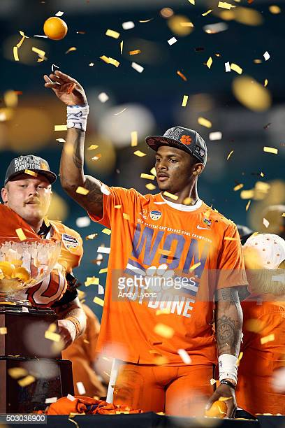 Deshaun Watson of the Clemson Tigers celebrates after the Clemson Tigers defeat the Oklahoma Sooners with a score of 37 to 17 to win the 2015 Capital...