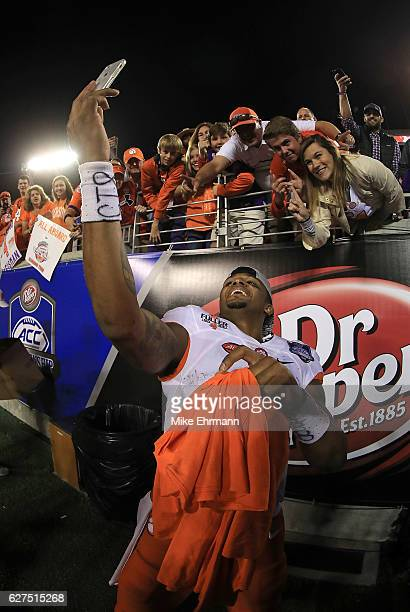 Deshaun Watson of the Clemson Tigers celebrates winning the ACC Championship against the Virginia Tech Hokies on December 3 2016 in Orlando Florida