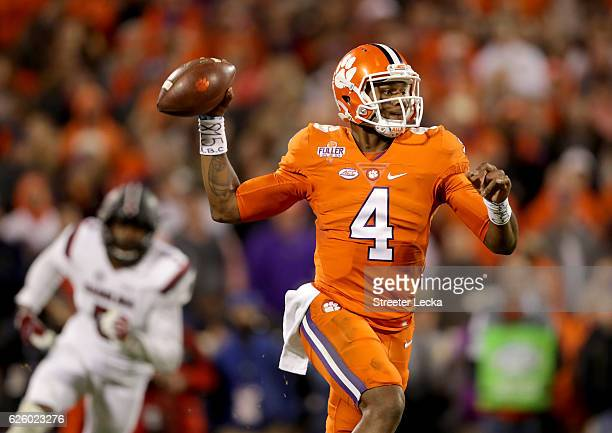 Deshaun Watson of the Clemson Tigers drops back to pass against the South Carolina Gamecocks during their game at Memorial Stadium on November 26,...