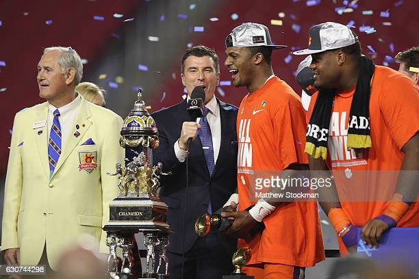 Deshaun Watson of the Clemson Tigers is interviewed after the Clemson Tigers beat the Ohio State Buckeyes 310 turnover win the 2016 PlayStation...
