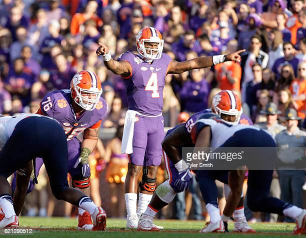 Deshaun Watson of the Clemson Tigers looks to pass during the game against the Syracuse Orange at Memorial Stadium on November 5 2016 in Clemson...